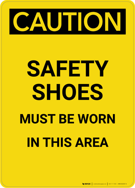 Caution: PPE Safety Shoes Must Be Worn in This Area - Portrait Wall Sign