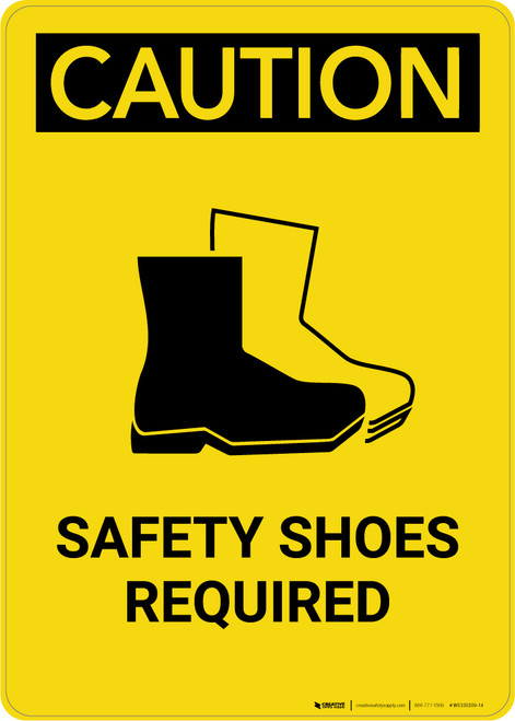 Caution: PPE Safety Shoes Required With Graphic - Portrait Wall Sign