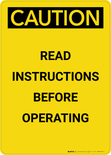 Caution: Read Instructions Before Operating - Portrait Wall Sign