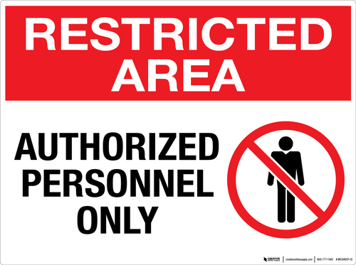 Restricted Area: Authorized Personnel Only - Wall Sign