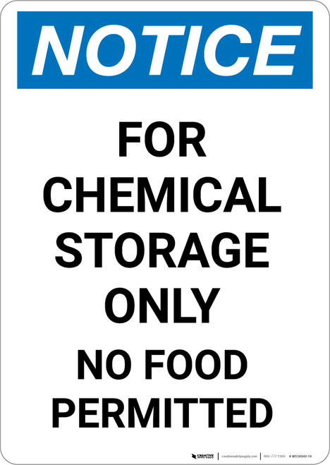 Notice: Chemical Storage Only No Food Permitted - Portrait Wall Sign