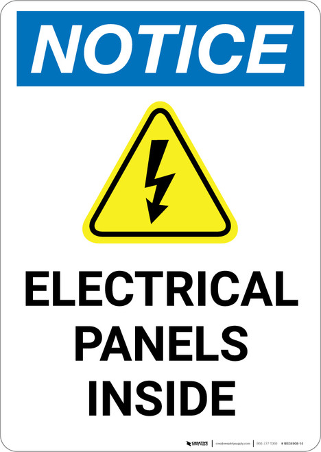 Notice: Electrical Panels Inside with Icon - Portrait Wall Sign