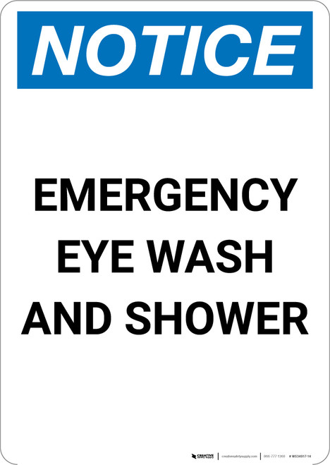Notice: Emergency Eye Wash and Shower - Portrait Wall Sign