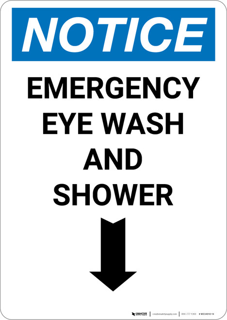 Notice: Emergency Eye Wash Station and Shower with Arrow Down Icon - Portrait Wall Sign