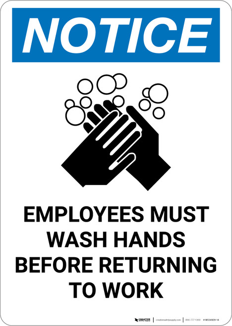 Notice: Employees Must Wash Hands Before Returning to Work - Portrait Wall Sign