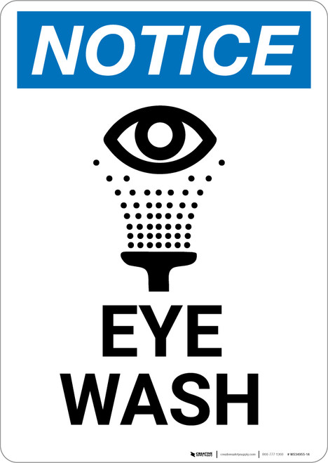 Notice: Eye Wash with Icon - Portrait Wall Sign