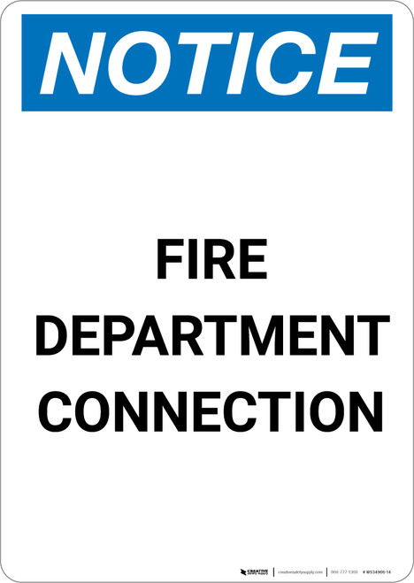 Notice: Fire Department Connection - Portrait Wall Sign