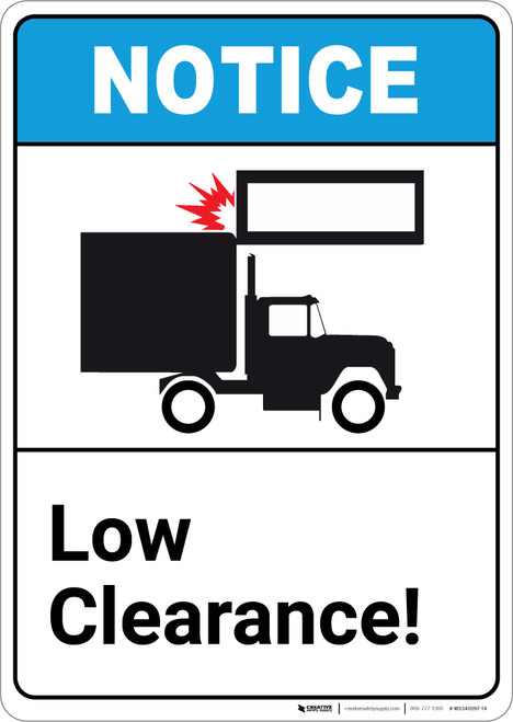 Notice: Low Clearance ANSI with Graphic - Portrait Wall Sign