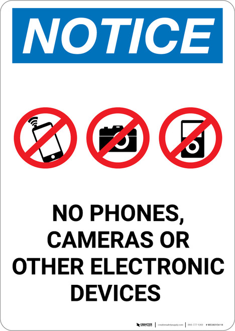 Notice: No Phones, Cameras or Other Electronic Devices - Portrait Wall Sign