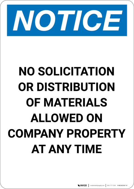 Notice: No Solicitation Or Distribution Of Materials On Company Property - Portrait Wall Sign