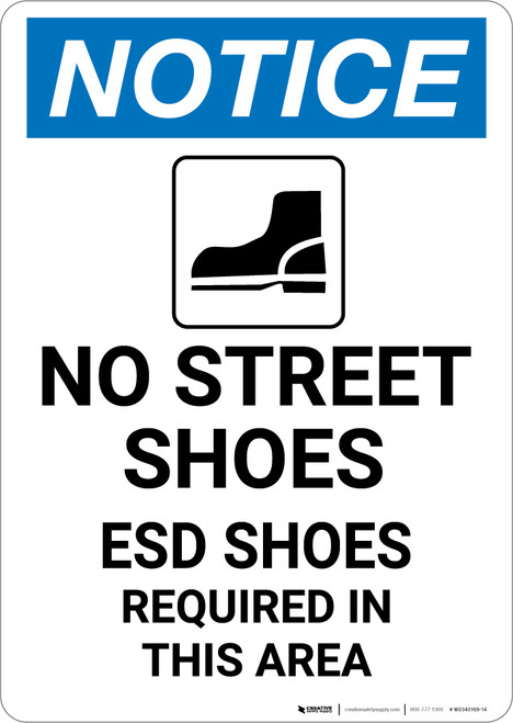 Notice: No Street Shoes ESD Shoes Required with Icon - Portrait Wall Sign