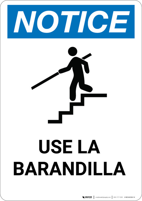 Notice: Spanish Aviso Use Handrail - Portrait Wall Sign