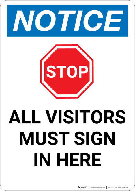 Notice: Stop All Visitors must Sign In Here with Graphic - Portrait Wall Sign