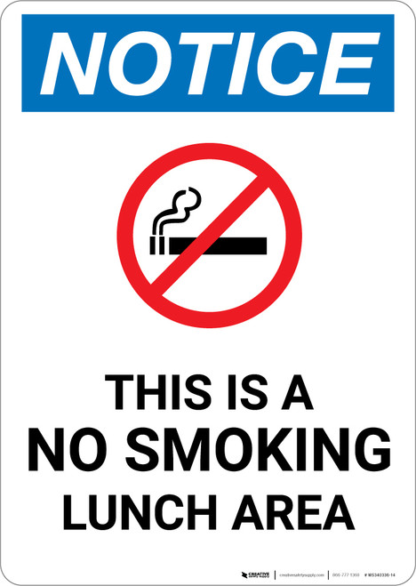 Notice: This Is A No Smoking Lunch Area No Smoking Icon - Portrait Wall Sign