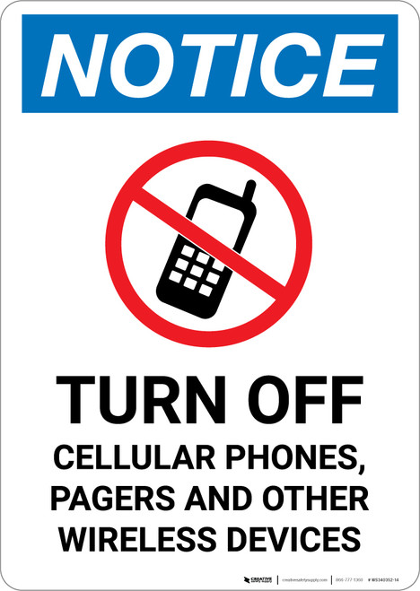 Notice: Turn Off Cellular Phones Pagers Other Wireless Devices No Cellphone Icon - Portrait Wall Sign