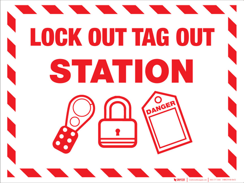 Lock Out Tag Out Station - Wall Sign