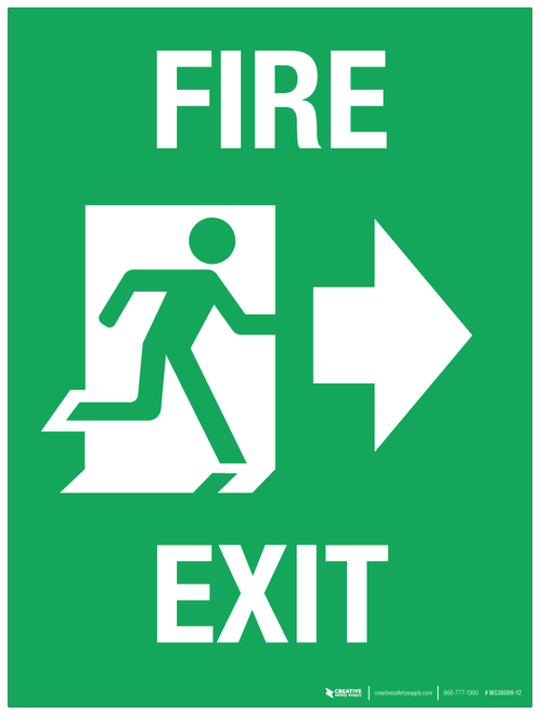Fire Exit (arrow right) - Wall Sign