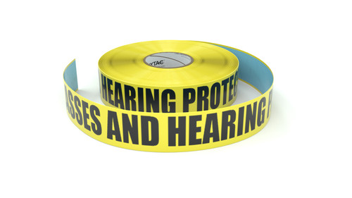 Safety Glasses And Hearing Protection Required - Inline Printed Floor Marking Tape