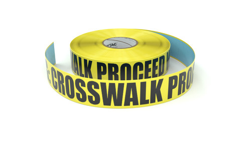 Warning: Crosswalk Proceed With Caution - Inline Printed Floor Marking Tape