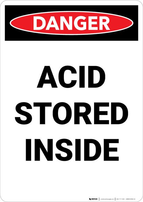 Acid Storage Inside - Portrait Wall Sign