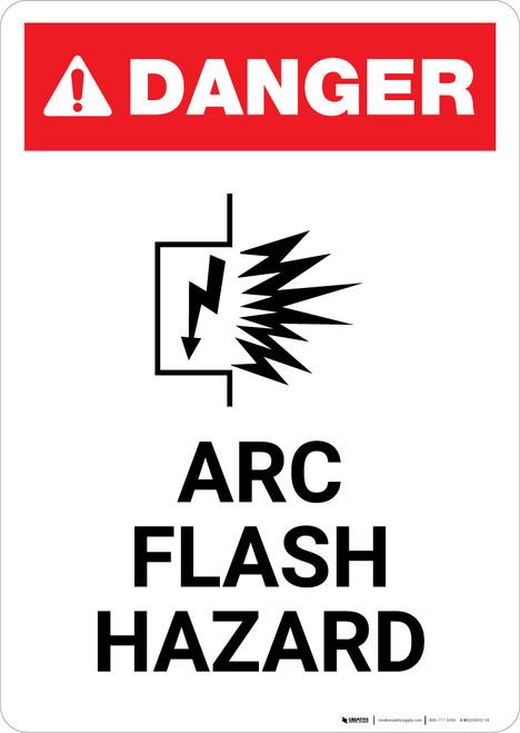 Arc Flash Hazard with Icon - Portrait Wall Sign