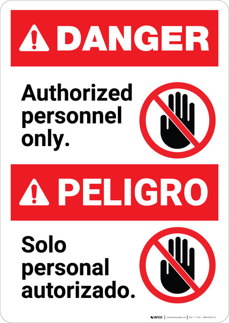 Bilingual Authorized Personnel Only Spanish - Portrait Wall Sign