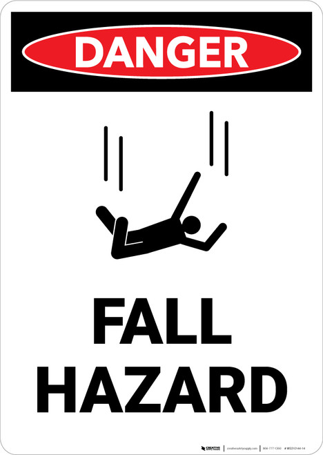 Fall Hazard with Icon - Portrait Wall Sign