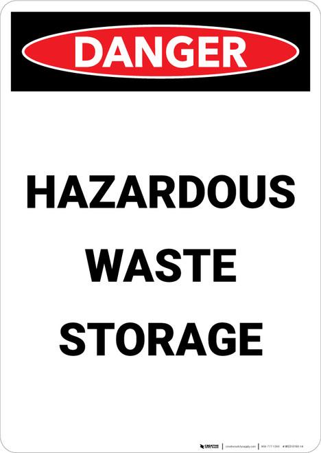 Hazardous Waste Storage - Portrait Wall Sign