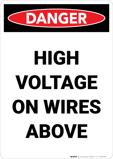 High Voltage On Wires Above - Portrait Wall Sign