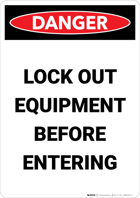 Lock Out Equipment Before Entering - Portrait Wall Sign