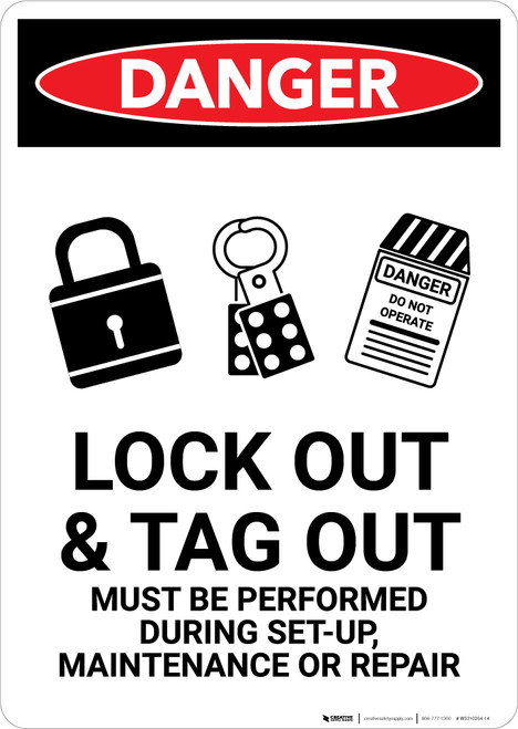 Lock Out Tag Out All Power Sources With Graphic - Portrait Wall Sign