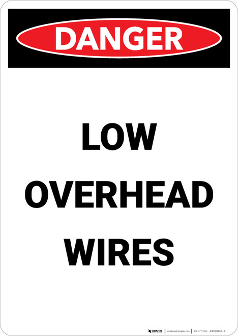 Low Overhead Wires - Portrait Wall Sign