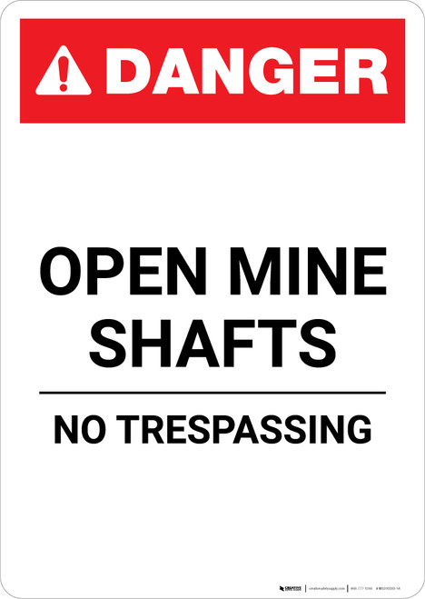 Open Mine Shafts - Portrait Wall Sign