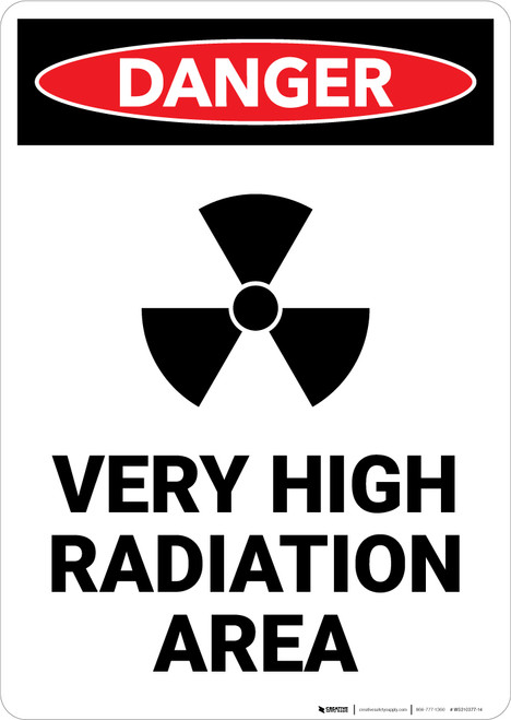 Very High Radiation Area with Icon - Portrait Wall Sign