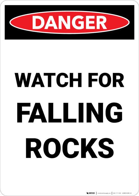 Watch for Falling Rocks - Portrait Wall Sign