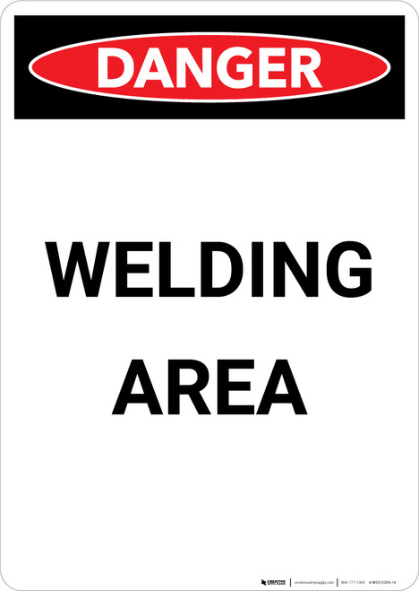 Welding Area - Portrait Wall Sign