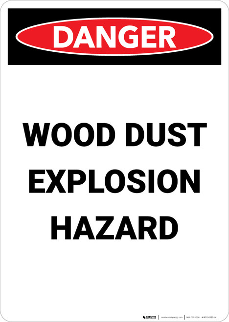 Wood Dust Explosion Hazard - Portrait Wall Sign