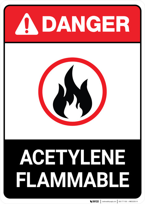 Acetylene Flammable ANSI - Portrait Wall Sign