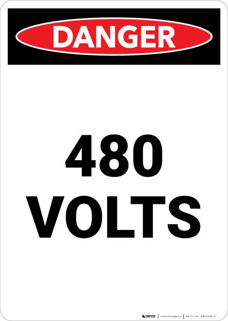 480 Volts - Portrait Wall Sign