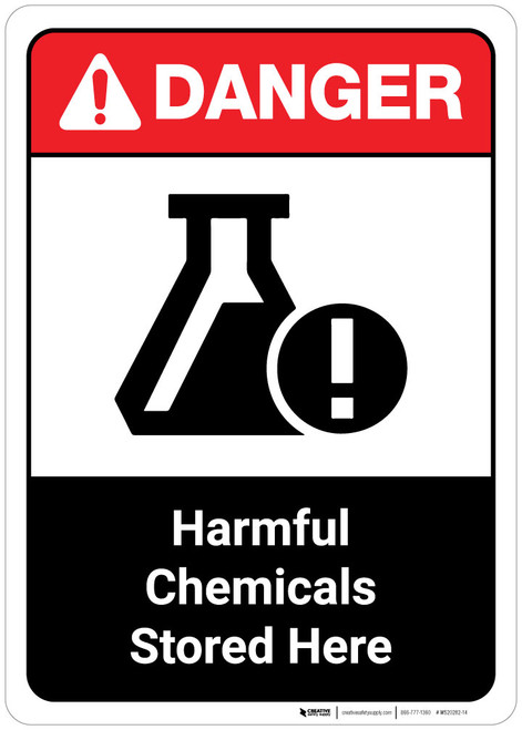 Danger: Harmful Chemicals Stored Here ANSI Portrait with Icon