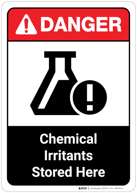 Danger: Chemical Irritants Stored Here ANSI Portrait