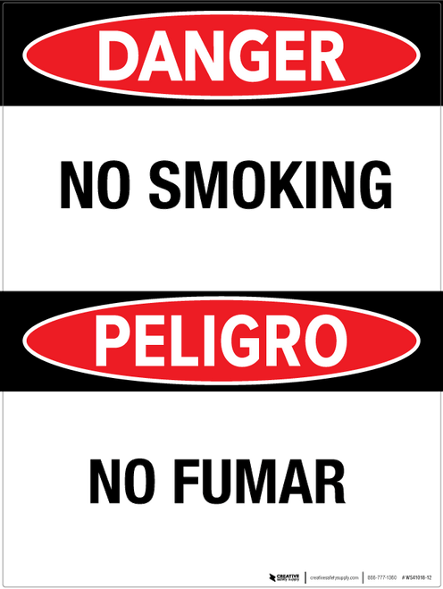 Danger: No Smoking - Bilingual Wall Sign