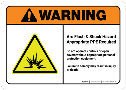 Warning: Arc Flash - Do Not Operate Controls/Open Covers Without PPE