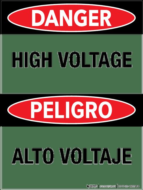 Danger: High Voltage - Bilingual Wall Sign