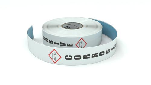 GHS: Corrosive Icon Vertical - Inline Printed Floor Marking Tape