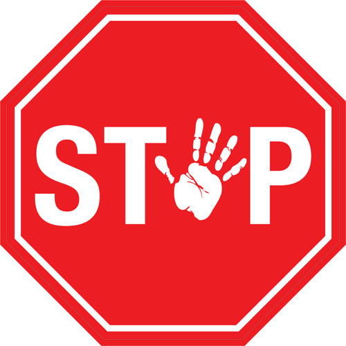 Stop (With Hand Icon) - Floor Sign