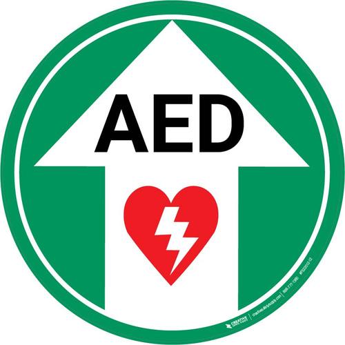 AED (Arrow Up) - Floor Sign