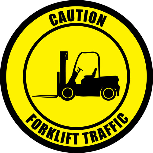 Caution: Forklift Traffic (Circle in Yellow) - Floor Sign