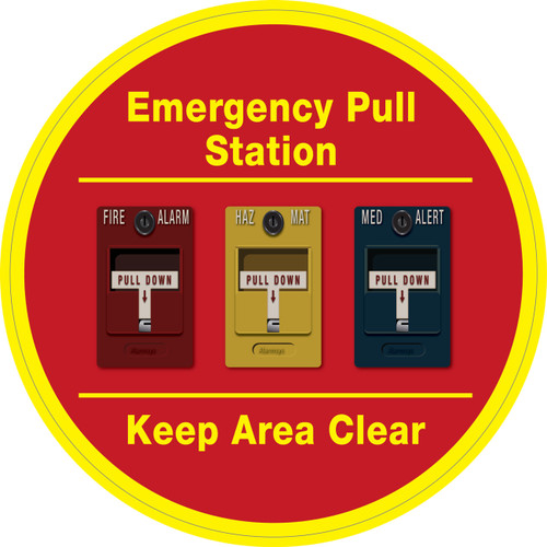 Emergency Pull Station - Keep Area Clear (Three Alarms) - Floor Sign