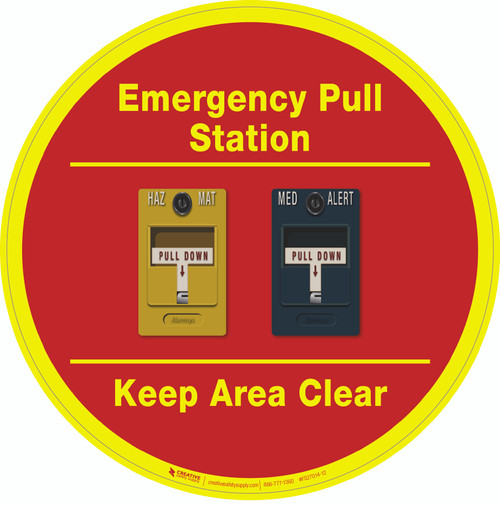 Emergency Pull Station - Keep Area Clear (Yellow/Blue Alarms) - Floor Sign